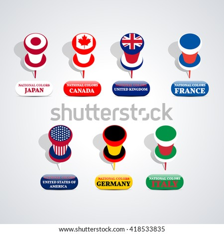 Set of pushpin in the national colors Group of Seven countries, vector illustration.