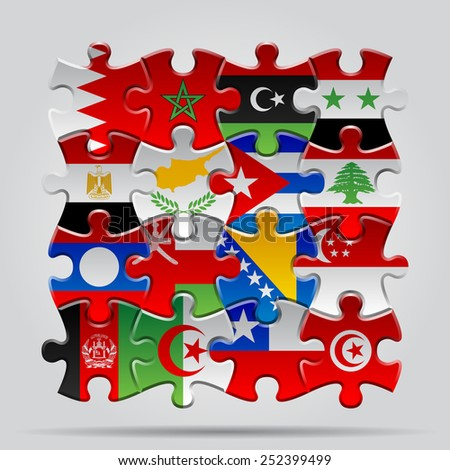Set of puzzle with World flags. Vector Illustration - stock vector