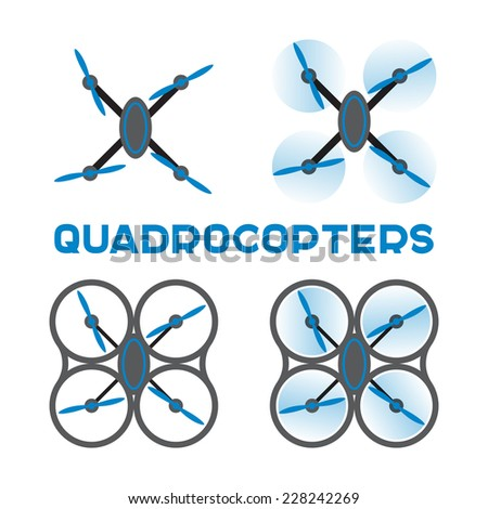 Set of quadrocopters icons. Vector flat design - stock vector