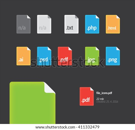 Set of quality file type icons. Page with folded corner. Icons ideal for dark interface. Colorful icons with gradient. - stock vector
