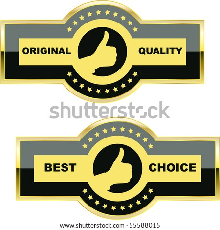 Set of quality guaranteed label - stock vector