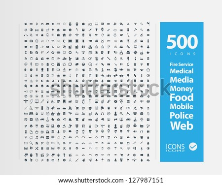 Set of 500 Quality icon (  Fire Service icons , Medical icons , Media icons , Money icons , Food icons ,Mobile icons , Police icons ,Web icons ) - stock vector