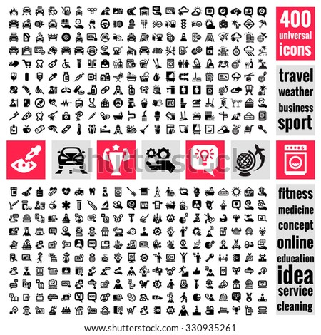Set of 400 quality icon. Service icons , Medical icons , Media icons , Mobile icons , Travel icons ,Web icons , Cars icons. Vector Universal Icons Set. - stock vector