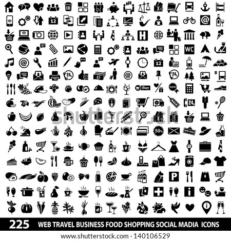Set of 225 Quality icon Social Media icons, Web icons, Food icons, Shopping, Mobile icons, Travel icons, Camping icons. Vector illustration - stock vector