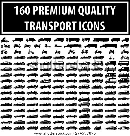 Set of 120 Quality Icons [ Car, Bike, Motorcycle, ATV, Truck, Van, Scooter, Transport ] - stock vector