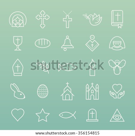 Set of Quality Isolated Universal Standard Minimal Simple Christian White Thin Line Icons on Color Background. - stock vector