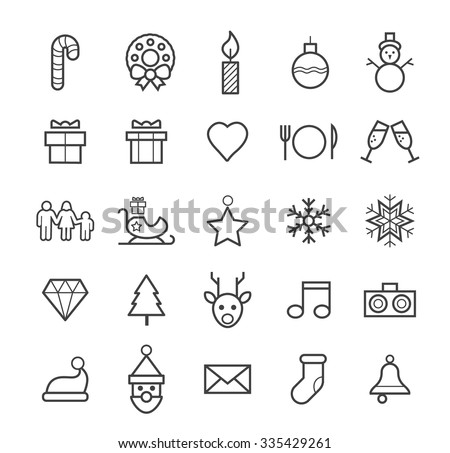 Set of Quality Isolated Universal Standard Minimal Simple Christmas Black Thin Line Icons on White Background. - stock vector