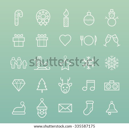 Set of Quality Isolated Universal Standard Minimal Simple Christmas White Thin Line Icons on Color Background. - stock vector