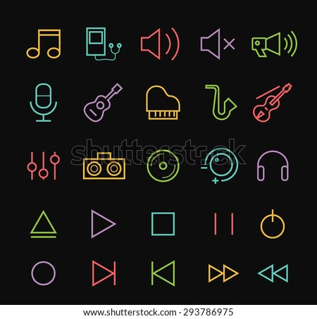 Set of Quality Isolated Universal Standard Minimal Simple Music Color Thin Line Icons on Black Background.