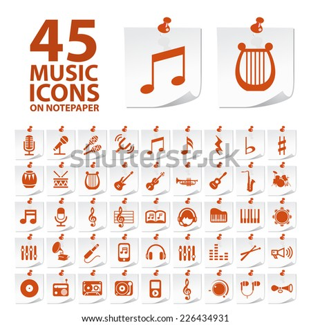 Set of Quality Standard Elegant High Quality Music Icons on Notepaper Buttons on White Background. - stock vector