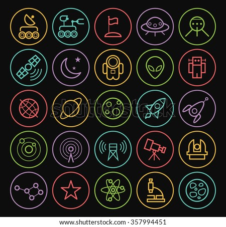 Set of Quality Universal Isolated Standard Minimal Simple Colored Neon Space Thin Line Icons on Circular Buttons on Black Background.