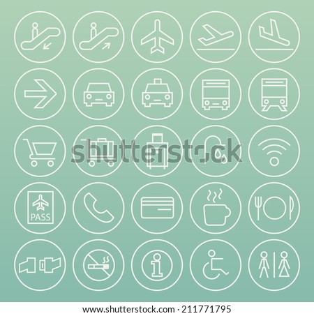 Set of Quality Universal Standard Minimal Simple Airport White Thin Line Icons on Circular Buttons on Color Background. - stock vector