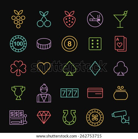 Set of Quality Universal Standard Minimal Simple Colored Neon Casino Thin Line Icons on Black Background. - stock vector