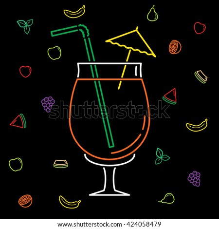 Set of Quality Universal Standard Minimal Simple Colored Neon Casino Thin Line Icons on Black Background - stock vector