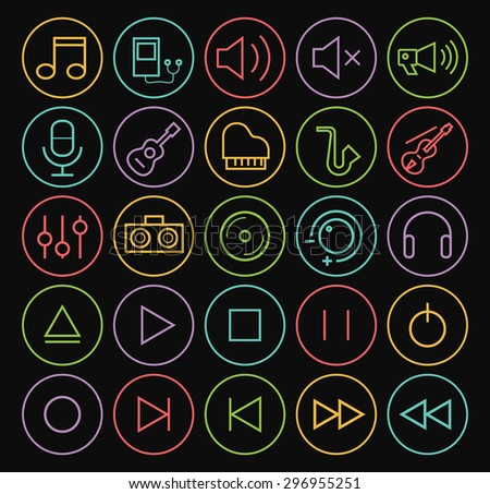 Set of Quality Universal Standard Minimal Simple Colored Neon Music Thin Line Icons on Circular Buttons on Black Background.