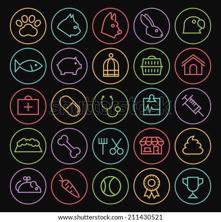 Set of Quality Universal Standard Minimal Simple Colored Neon Veterinary Thin Line Icons on Circular Buttons on Black Background. - stock vector