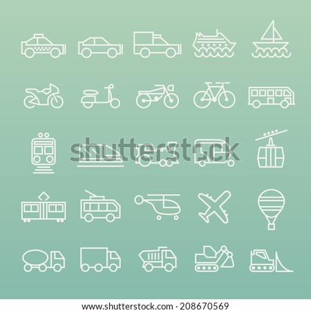 Set of Quality Universal Standard Minimal Simple Transport White Thin Line Icons on Color Background. - stock vector
