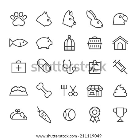 Set of Quality Universal Standard Minimal Simple Veterinary Black Thin Line Icons on White Background. - stock vector