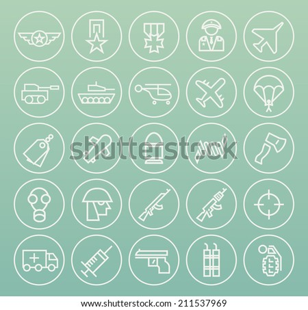 Set of Quality Universal Standard Minimal Simple War White Thin Line Icons on Circular Buttons on Color Background. - stock vector