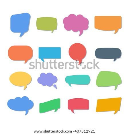 Set of quote bubbles. Empty quote bubbles templates for your design. Quote bubble comment templates on white background. Colorful quote bubbles.  - stock vector