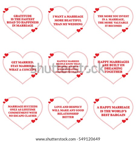 Set Quotes About Love Marriage Over Stock Vector