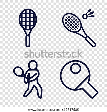set of 4 racket outline icons such as badminton, tennis playing, tennis rocket