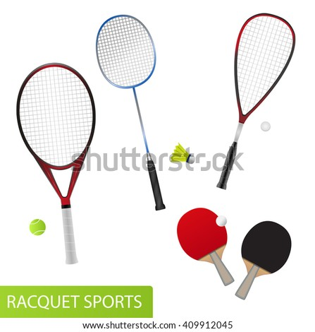 Set of racquet sports - equipment for tennis, table tennis, badminton and squash - rackets and balls - stock vector