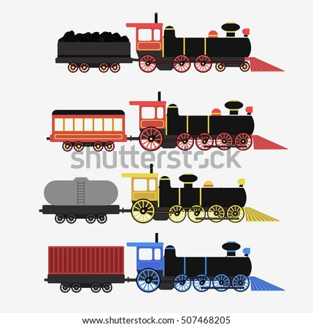 Set of railway locomotives. Flat vector illustration.