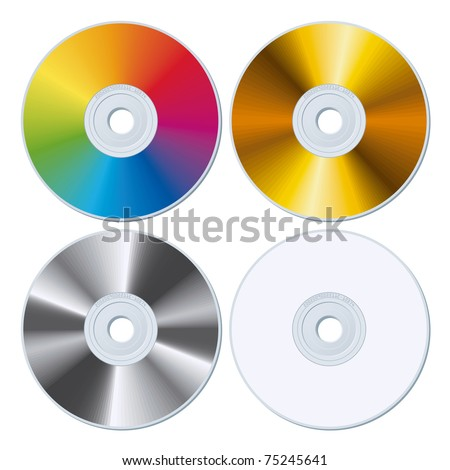 Set of Rainbow, Gold, Silver and White Blank CDs. Vector Illustration - stock vector