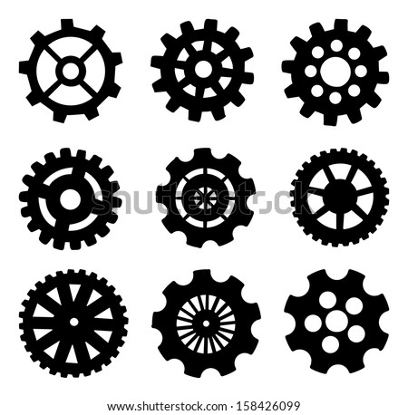 Set of Random Cogs and gears, black outline, vector illustration