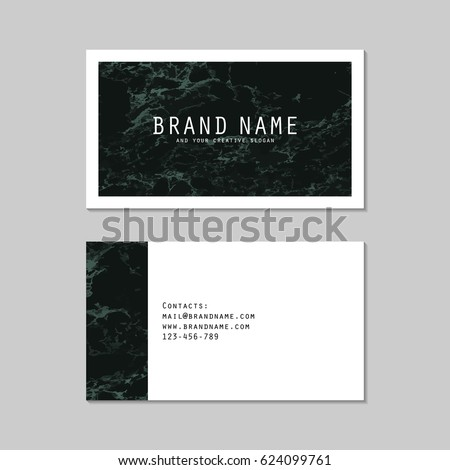 Set ready made business card green stock vector 624099761 shutterstock set of ready made business card with green faux marble texture modern multipurpose minimalist style reheart Image collections