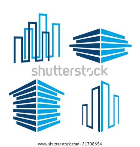 set of real estate / building icons, vector illustration - stock vector
