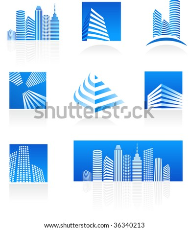 Set of real estate icons - stock vector