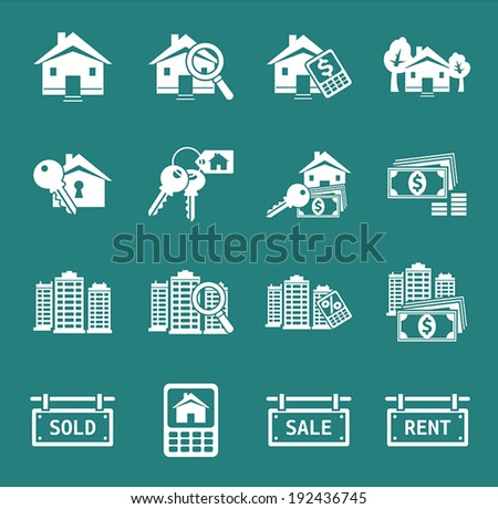 Set of real estate icons and signs. Vector. - stock vector