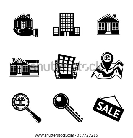 Set of REAL ESTATE icons - landscape, house, sale tag, big house, key, hand with house, search icon, map, skyscraper. Vector - stock vector