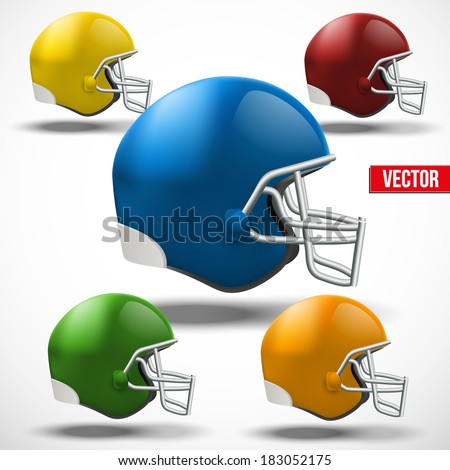 Set of Realistic American football helmet. Side view. Vector sport illustration. Equipment for protection of player. Isolated on background. - stock vector