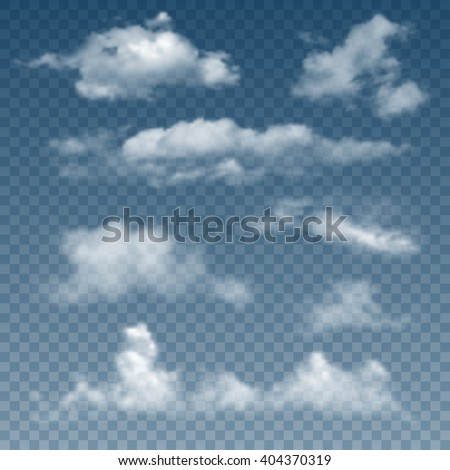 Set Of Realistic And Transparent Different Clouds. Vector Illustration. - stock vector