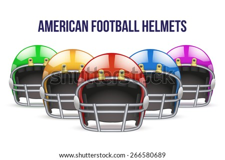 Set of Realistic Blue American football helmet. Equipment sport illustration. Vector Isolated on background. - stock vector