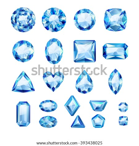 Set of realistic blue jewels. Colorful gemstones. Sapphires isolated on white background. - stock vector