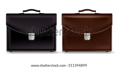 Set of Realistic Briefcase for Business Isolated in White Background. Vector Illustration  - stock vector