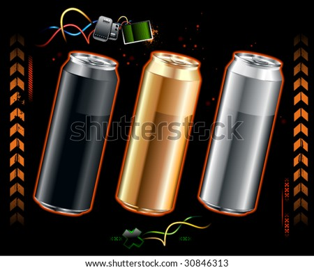 Set of realistic cans somewhere in space - stock vector