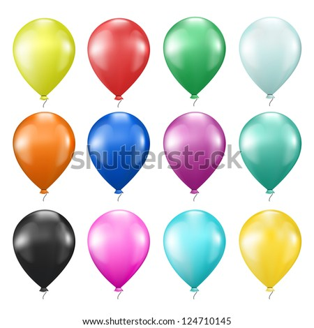 set of realistic colorful balloons