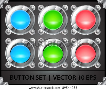 set of realistic colorful metal buttons
