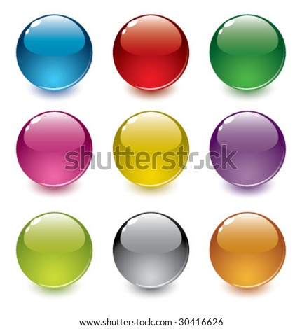 set of realistic, colorful, vector spheres