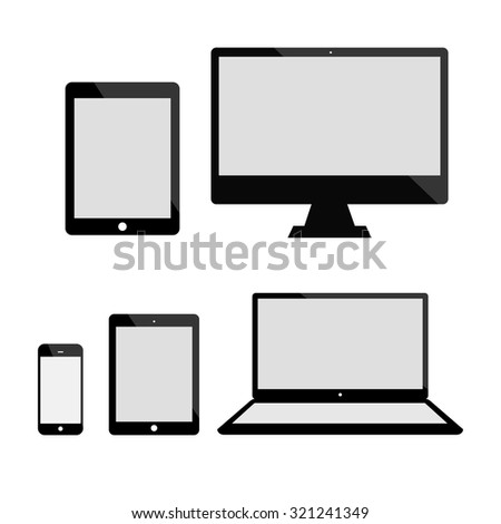 Set of realistic computer monitor, laptop, tablets and mobile phone. Electronic gadgets isolated on white background. - stock vector