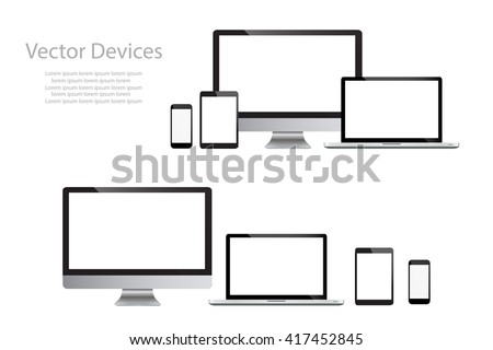 Set of realistic computer monitors, laptops, tablets and mobile phones. Electronic gadgets isolated  on white background - stock vector
