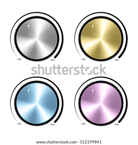 Set of Realistic control the music knob volume. - stock vector