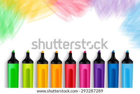 Set of Realistic 3D Colorful Markers in a Brushed White Background with Texture for Back to School with White Space for Message. Vector Illustration - stock vector