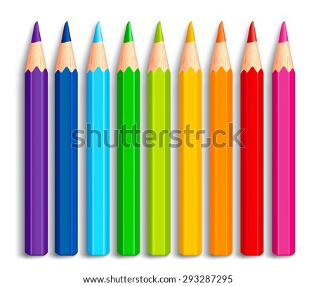 Set of Realistic 3D Multicolor Colored Pencils or Crayons Isolated in White Background for Back to School Items. Vector Illustration - stock vector
