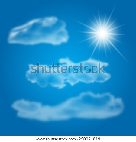 Set of realistic different clouds and shiny sun for any non-white background. Vector illustration. - stock vector